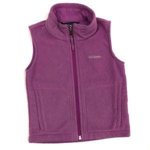 Columbia Kids Fleece Jacket Vest Pink Full Zip GUC